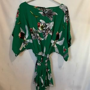 Green Floral Kimono Blouse